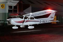 Cessna 172 - G-ISLY - Perth Scone Airport (paulstevenchalmers) Tags: night perth perthairport perthshire scone sconeairport scotland airplane aircraft longexporures longexposure