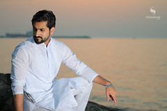 Sunset shoot with Bilal (hisalman) Tags: sunset male model fashion white shalwar kamiz dress pakistan canon beach sun