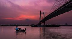 DFX_7150 (sandip de) Tags: city bridge sunset red india water beautiful river boat second rowing kolkata ganga ganges sandip hoogly vidyasagar setu sandipde