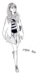 shibuya 18:00 (rokuhisa chino) Tags: girls fashion illustration japanese tokyo shibuya kawaii ikebukuro shinjyuku harajyuku streetfashion japanesefashion streetsnap tokyolovegirls tokyogirls rokuhisachino