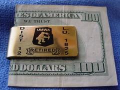 UMWA Money Clip, Dist 12 LU 1825 (Coalminer5) Tags: union mining coal miner coalminer papermoney coalmining umwa moneyclip unitedmineworkersofamerica 100dollarbill miningartifacts coalmemorabilia coalcollectibles miningmemorabilia miningcollectible coalcollectible unionmemorabilia umwamemorabilia