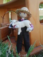 miniature farmer wildflower innocence (wildflowertoys) Tags: woodentoys dollhousedolls toybarn bendydoll naturaltoys waldorftoys elvesandangels dollhousefamily toystable wildflowerinnocence