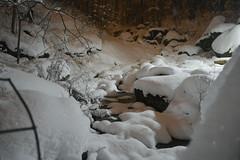 Winter Wonderland (Erik Jhnke) Tags: nyc winter outcrop snow newyork rock night creek stream centralpark manhattan gotham