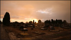 Clouds and Headstones (florahaggis) Tags: winter sunset weather clouds sunrise australia victoria storms horsham pc3400