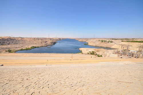 Aswan High Dam, built to control the Nile floods, store water and produce 2,1 GW of electricity