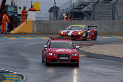 Audi RS4 safety car and AF Corse Ferrari No. 61 (jbp274) Tags: cars wet ferrari racing audi circuit motorsports lemans automobiles damp 24hours rs4 safetycar 458italia