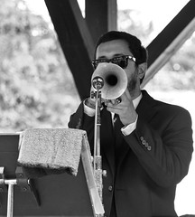 R&B Trumpet (Catskills Photography) Tags: people blackandwhite music trumpet jazz canon55250mmislens