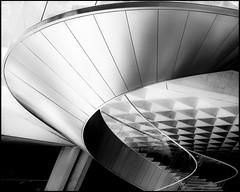 Snail (Maerten Prins) Tags: new blackandwhite bw paris france lines metal museum stairs reflections spiral pyramid louvre steel snail twirl curl frankrijk railing parijs explored