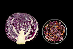 before & after (brescia, italy) (bloodybee) Tags: stilllife food black vegetables leaves salad purple cut before dressing eat half cabbage carrot after coleslaw vinaigrette brassicaoleracea 365project