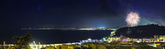 Nice - Fireworks (Alex Lud) Tags: summer urban panorama france water night french bay nice raw fuji fireworks tripod paca 1855mm nuit mediterraneansea 14juillet lightroom giotto feudartifice autofocus frenchriviera xt1 niksoftware alexlud