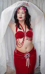 "Bellydance ""Valentine"" costume - red velvet, white veil (dinazina) Tags: costume sale bellydance costumematerials originalcostumedesigns"