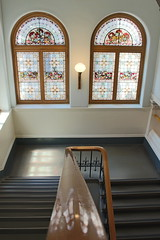 Down (takenbygabi) Tags: windows white building art window glass lamp stain wall vancouver stairs island handle islands bc looking pacific northwest mosaic flight royal parliament down columbia victoria stained coastal staircase british walls flights