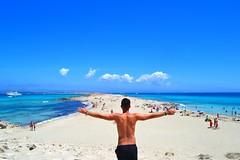 on the beach (mariamarcone) Tags: summer sun beach clouds island spain sand paradise mediterraneo bo sola fomenter