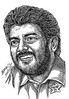 AJITHKUMAR Actor Portrait in my Pen drawing by  Artist Anikartick Chennai Tamil Nadu India
