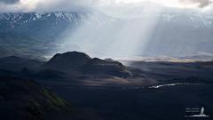 Iceland: Tvibaka Light (Greg Whitton Photography) Tags: light sun snow ice landscape volcano iceland laugavegur highlands ray moody fuji drama volcanic crepuscular thorsmork landmannalauger xt1 hattfell