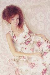Camilla (lucrecia lee) Tags: flowers portrait woman girl beautiful beauty face fashion bigeyes glamour hand gorgeous longhair curls redhead redlips freckles colourful redhair graceful curlyhair longdress