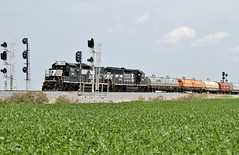 NS 750 West in Woodburn,Indiana on August 2,2014. (soo6000) Tags: railroad train ns indiana local rebuilt woodburn norfolksouthern 750 ns750 rpe4c fostoriadistrict dawkinssiding nkpsignals classicrailroadsignals