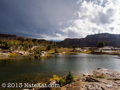 Basin Lakes (NateKat Photography) Tags: lake storm backpacking wyoming grandtetonnationalpark grayclouds alaskabasin tetoncresttrail basinlakes olympusepl5