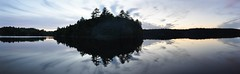 Spider Lake Panoramic (Ryan Hadley) Tags: camping trees sunset sky autostitch panorama lake ontario canada reflection nature clouds forest landscape panoramic spiderlake massasaugaprovincialpark