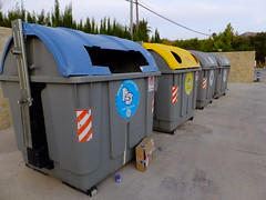 Which colour? (stevenbrandist) Tags: blue holiday yellow spain bin container espana basura rubbish refuse recycling javea costablanca familyholiday