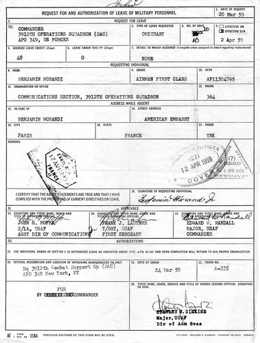 af leave request form  34 Leave Request form (AF Form 1164) A1C Morandi - 2 Apr 1959 - Over ...
