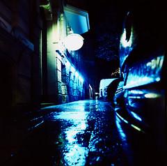 10 blaues Licht (Max Sch.) Tags: auto street blue light reflection 6x6 film water car rain night analog canon germany dark square deutschland licht wasser cross nacht kodak saxony slide dia leipzig iso bronica sachsen plus medium format 100 middle process ektachrome sdvorstadt regen dunkel reflektion 120mm rollfilm blaues mittelformat spielothek zenza strase s2a sdplatz 9000f