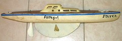 1950s pond boat (oldsailro) Tags: park old boy sea summer people sun lake playing beach water pool girl sunshine youth sailboat race vintage children fun toy boat miniature wooden pond model waves sailing ship time yacht antique group boom mast hull keel