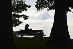 Early morning thoughts (shireye) Tags: toronto ontario silhouette lady bench nikon boardwalk fullframe ff thebeach d610 24120