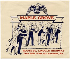 Maple Grove Roll Arena, Lincoln Highway, Lancaster, Pa. (Alan Mays) Tags: old blue red white men vintage ties ads paper advertising typography clothing women suits dancers dancing pennsylvania scrollwork skating stickers rollerskates illustrations patriotic ephemera clothes pa dresses type lancaster highways labels routes roadside arenas banners lancastercounty advertisements fonts printed neckties decals eagles skates borders rollerskating typefaces amusementparks route30 dances scrolls lincolnhighway maplegrove rinks usroute30 strapwork rollerrinks skatingrinks maplegrovepark rollerskatinglabels rollerskatingstickers rollerskatingrinkstickers maplegroverollarena rollarenas