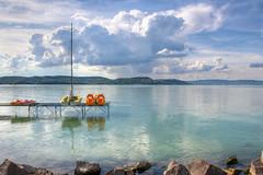 Lake Balaton 2014 HDR 3 (Romeodesign) Tags: summer sky lake beach water clouds reflections hungary kayak tranquil balaton hdr pedalo 550d zamardi