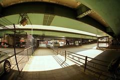 fisheye city, Honmachi, Osaka (jtabn99) Tags: honmachi osaka japan nippon nihon hanshin expressway under 20170307 大阪 日本 本町 阪神高速道路 street