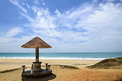Chothavilai Beach near Kanyakumari, India (Anoop Negi) Tags: kanyakumari india chothavilai sanguthurai beach mankhudy road tamilnadu sea coast anoop negi gazebo clouds sky blue sand photo photography ezee123 sothavilai