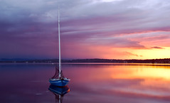 boat on lake (loobyloo55) Tags: sunset sun lake water boat nsw newsouthwales centralcoast