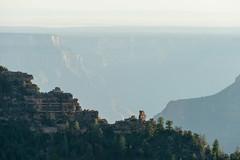 Grand Canyon, Arizona - detail of Oza Butte from Grand Canyon Lodge, North Rim (MikePScott) Tags: camera trees arizona usa buildings lens haze rocks unitedstates grandcanyon canyon cliffs lodge strata accommodation northrim topography builtenvironment thelodge nikond800 ozabutte grandcanyonlodgenorthrim nikon28300mmf3556 featureslandmarks