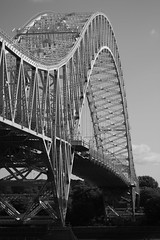 Runcorn Widnes Road Bridge (Hr3n) Tags: bridge blackwhite steel widnes runcornwidnesbridge