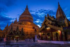 Golden Pagoda, Swesigon (5AAAAM) Tags: old city travel blue sky landscape asian temple gold golden pagoda landscapes twilight ancient nikon asia cityscape cityscapes landmark scene temples land myanmar bluehour scape goldenhour scapes pagodas bagan d600 oldbagan nikond600