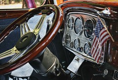 Patriotism by the dashboard light? (~ Liberty Images) Tags: classiccar automobile chrome inside dashboard steeringwheel libertyimages