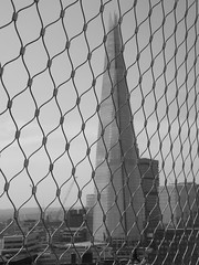 The Shard (Tom Owen Abingdon) Tags: blackandwhite abstract london glass architecture modern wire dynamic geometry circles thecity loops points rails shard greyscale tomowen theshard