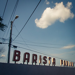East Nashville is so damn trendy! (I am Fry) Tags: sky usa cloud coffee sign shop nashville tennessee east cables filter espresso lettering caffeine barista parlor