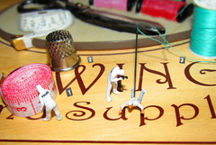 Stab 'n' Stitch (amanda_shirlow) Tags: people macro miniature sewing small mini scene humour m crime micro ho littlepeople tinypeople forensics hoscale preiser
