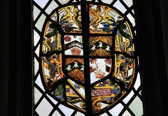 Stained Glass - Montacute House, NT (2) (Richard Collier - Wildlife and Travel Photography) Tags: window stainedglass nationaltrust stainedglasswindow shields heraldic montacutehouse