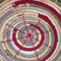 """This lovely combination of crimson, sage green, buttercup yellow, and flax is coming together at the sewing machine right now. I love how this basket is taking shape! • <a style=""""font-size:0.8em;"""" href=""""http://www.flickr.com/photos/54958436@N05/14994225779/"""" target=""""_blank"""">View on Flickr</a>"""