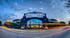 renovated panthers stadium (AgFineArtPhotography.com) Tags: auto road street new city morning car sport architecture buildings early nc tv long exposure downtown action charlotte stadium nfl champs trails bank structure queen monitor arena uptown huge panthers panther winners champions upgrades renovated bofa upgraded renewed amricka