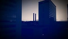 Parking Garage POV *Silhouette in Blue & White Sepia (Kenneth Wesley Earley) Tags: spokane spokanewa downtownspokane 99201 spokanistan spokandyland