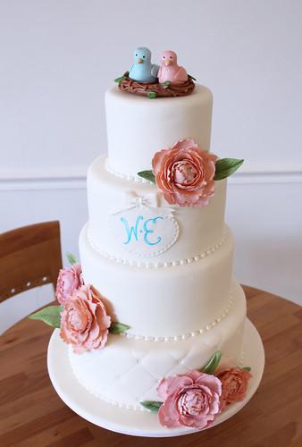 Love Birds Nest Peony Spring Wedding Cake