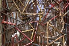 bicycle shambles (Rasande Tyskar) Tags: old window bike bicycle metal frames alt fenster hamburg metall fahrrad rahmen altona ottensen