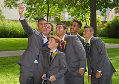 SMILE! (Joe Wicks) Tags: wedding party men smile pose fun groom suits lol group pic guys bestman iphone selfie selfies
