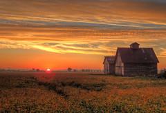 Sunrise on the 2nd Day of Fall at the Barn and Crib (kendoman26) Tags: red orange barn rural sunrise fuji farm crib hdr fujifinepix photomatix fujifinepixf750exr
