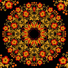 The traditional Russian floral pattern (red and yellow on black). Stylization khokhloma. Vector illustration. (liliyamehonoshina) Tags: wood old original red black flower colour classic texture floral yellow vintage painting gold design leaf doll pattern bright image russia handmade drawing spirals decorative background banner picture strawberries tendril exotic ornament swirls curl bud remembrance russian ornamental decor vector scroll stylized seamless pastiche matrioshka tracery backgroundtexture khokhloma simachev hohloma
