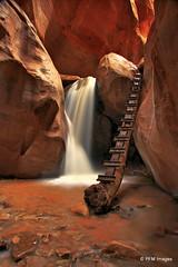Kanarra Creek Waterfall (pandt) Tags: usa water creek canon river utah waterfall long exposure angle time outdoor hiking wide vivid canyon hike zion ladder slot hdr lapse 2015 kanarra kanarraville